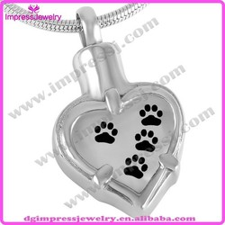 heart shaped stainless stee memorial urn pendant pet paw print cremation ashes jewellery