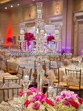 5 brazos candelabro de cristal para la boda