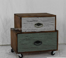 Vintage wooden drawer chest with caster MX-6522