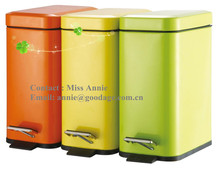 Three light yellow recycling waste can 1 sections