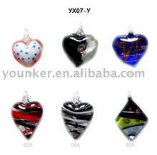 Heart Murano Clear lampwork glass pendant