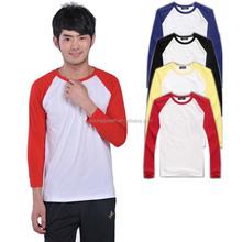 TD41 Raglan-sleeved white long-sleeved t-shirt heat transfer printing wholesale spot