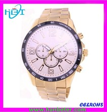 Luxury stainless steel case gold watches roman numbers with cheap price