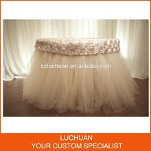Fancy Decorative Wedding Party Rosette And Tulle Stitch Round Tulle Table Skirt