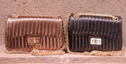 Classic mini quilted pu leather bag in metallic color