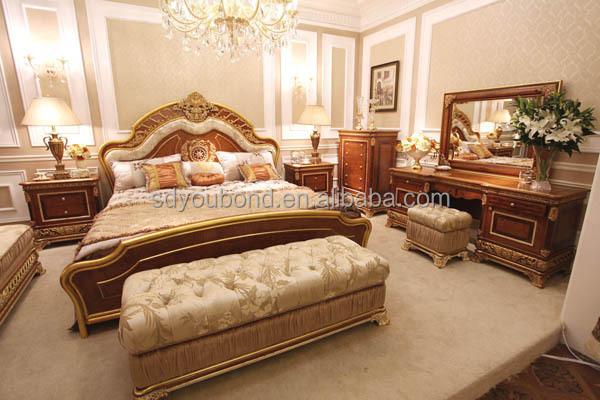 1 E62-1 bedroom (3).jpg - 0062 Luxury Wood Carved Crown Bedroom Set Furniture Home Used