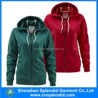 Shenzhen dress wholesale plain cheap casual women zip hoody custom design