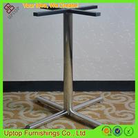 (SP-STL052) high gloss 4 star base round tube steel metal table leg