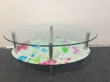 Morden New design Oval glass top 2 layer Coffee Table