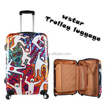 Hard shell ABS& PC printing design trolley luggage case luggage suitacase luggage bag