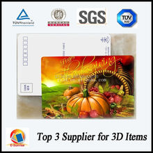 China factory lenticular 3d postcard for Thanksgiving Day celebration