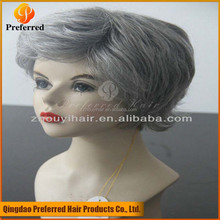 Natural hairline grey hair wigs for old women best selling products in america