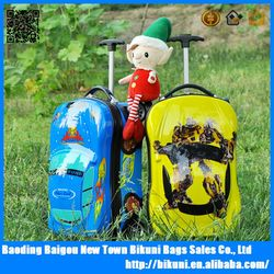 Fashion ABS AND PC cartoon school luggage 3D rolling trolley travel luggage for children