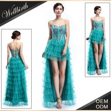 generous hand made beaded short long tail prom dresses