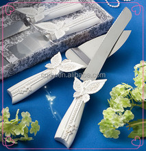 2015 new design wedding cake knife/server set/butterfly party cake and knife server set