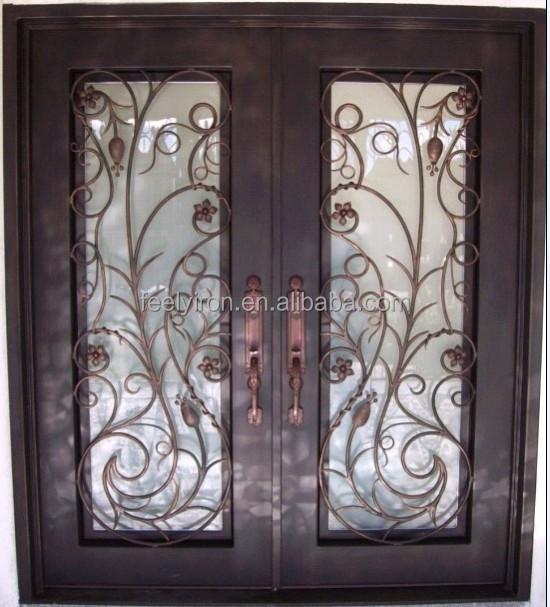 Hierro forjado art stico doble puerta de entrada de la for Puertas de entrada de hierro forjado