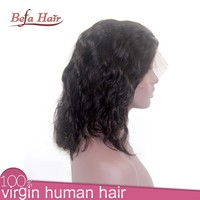 130% high density human hair lace front wigs with bangs half wigs for black women