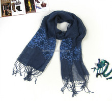 Fashion unisex rayon and linen mixed winter scarf