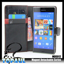 leather waterproof flip phone case for sony xperia e3, case with card slots