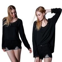 2015 Latest Fashion Design Elegant Black Long Sleeve Blusas Femininas Casuales