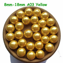 Bubblegum loose 8mm 10mm 12mm Yellow Gold chunky acrylic pearl beads ball gumball imitation pearl ABS beads A03