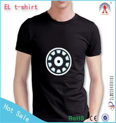 fashion short sleeve round neck cotton led t shirt for men hotsale