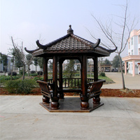 High quality outdoor garden wood gazebo/wooden pavilion/ Wood six corner pavilions
