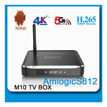 Alumnium! Best Amlogic S812 Quad Core Google Android 4.4 Android Tv Box M10 2GB/8GB Kodi Bluetooth Dual-band Wifi 4k 2k support