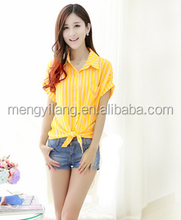 Summer wear the new big knot hem chiffon blouse yellow stripe code cultivate one's morality