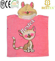 Lovely Funky Cute Super soft Kitty Hooded Baby wearing poncho