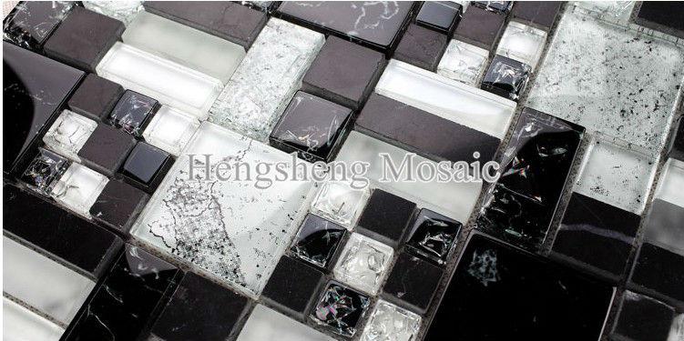 Baño Azulejos Blancos:KS353 Azulejos de baño azulejo mosaico negro mezcla blanco barato y