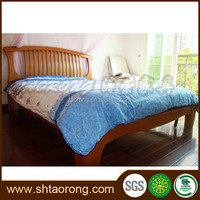 Modern teak color commercial solid wood double bed