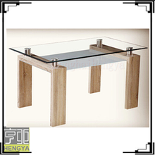 Modern wood tempered glass top dining room furniture dining table for sale