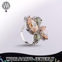 Gold Plated Alloy Zircon Champagne Ring Design Fashion Jewellery Engagement Ring