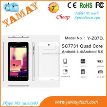 japanese tablet computers Cheapest SC7731 2 camera 1gb ram 3G 2G 7 inch smart pad android 4.4 tablet pc