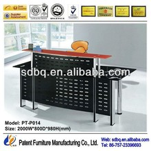 PT-P014 WorkWell office furniture supply standard high gloss office glass desk with metal legs good quality