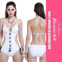 New Arrival White One Piece Backless Swimwear Sexy Bandage high cut one piece swimsuit Women Beach Wear Monokini