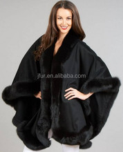100% Pure Cashmere Pashmina Shawl Genuine Fox Fur Trim Cashmere Hood Cape