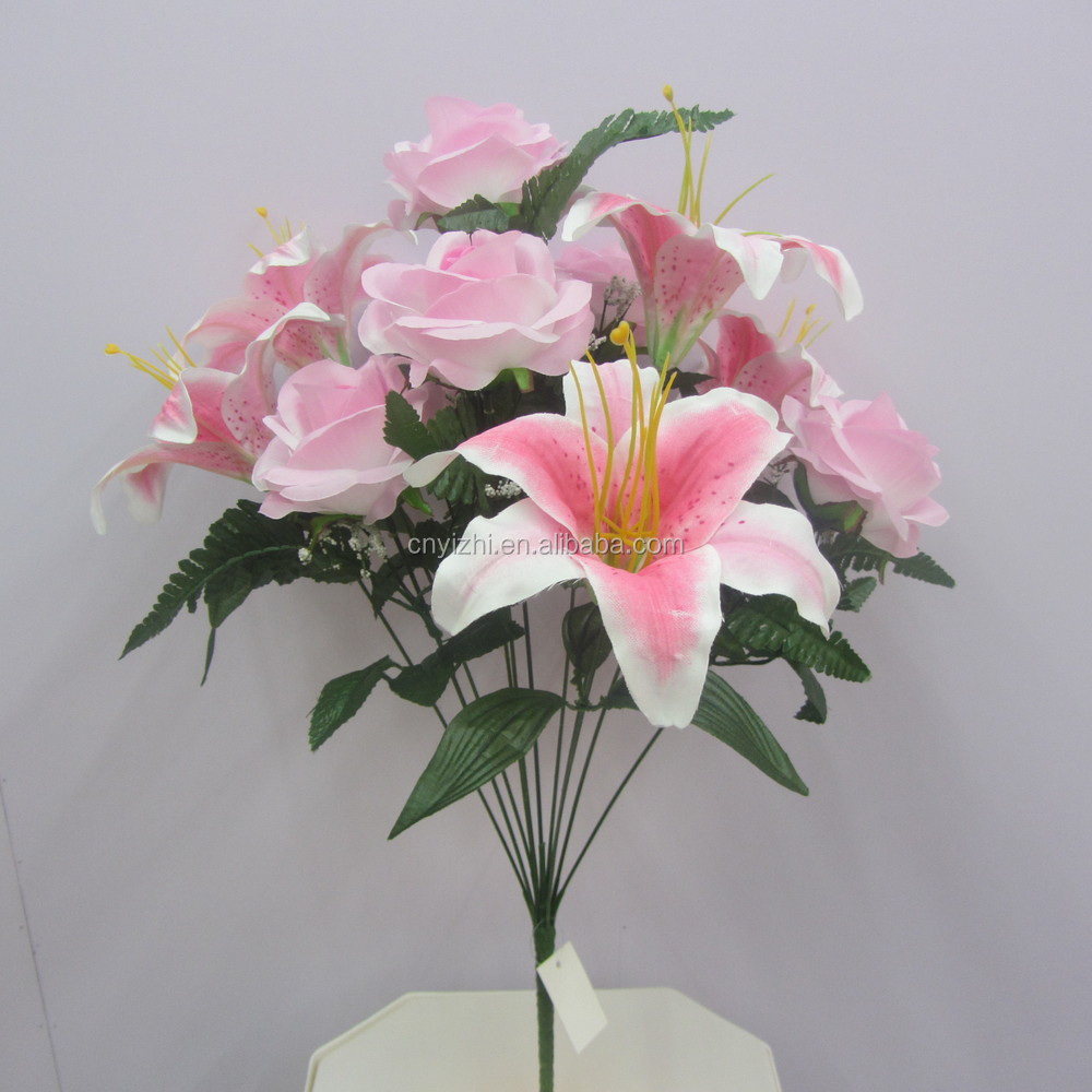 Real touch artificial flower rose lily bouquet single fake flower yzb00047 2g izmirmasajfo