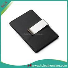 Alibaba German Creative Metal Ultra - thin Leather Money Clip Card Holder