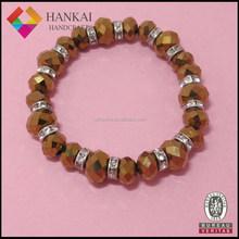 2015 new product glass beads handmade stretch bracelet, rhinestone bracelet