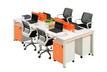 popular design Wooden top metal base office used 4 person workstation