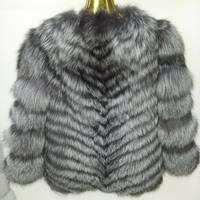 2014 Russia Long Style Sex Silver Fox Fur Coat For Women