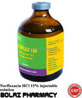 Medicine for Blood Circulation Norfloxacin HCl 15% Injectable Solution Vet Drugs for Cattle.