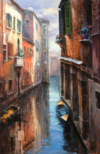 Beautiful Venice Scenery with Boat Wall Art Handmade Oil Painting on Canvas for Room Wall Art Decoration