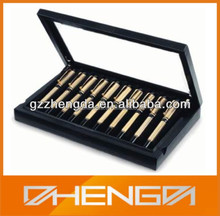 High quality custom made-in-china black luxury wooden pen box with glass lid (ZDS-F007)