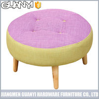 mix color fashion lovely wood leg soft sponge round ottoman