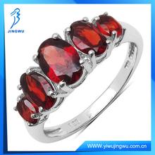Fashion Garnet 925 Sterling Silver Oval Shape 5 Stone Ring