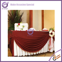 K6398 Red fancy table skirt/ruffled table skirtings wedding table skirting