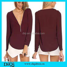 Ladies new stylish casual tops long sleeve sexy office lady blouse ladies western blouse